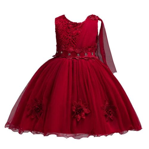 NEW Kid Flower Girl Pageant Party Formal Birthday Wedding Dress Wine SZ 3-9 Z69