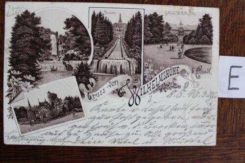 Postkarte Ansichtskarte Hessen Lithografie  Grus von Wilhelmshöhe