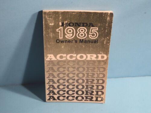 85 1985 Honda Accord owners manual