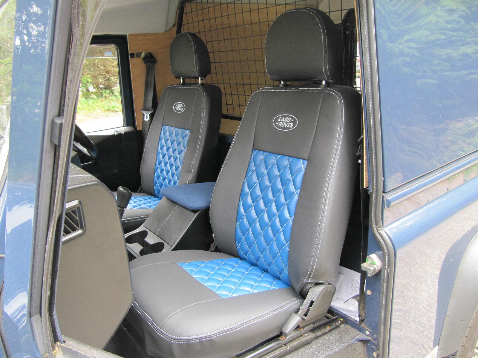 Exmoor Trim Land Rover Defender Puma Canvas Front Seat Covers BLACK Pair 07+