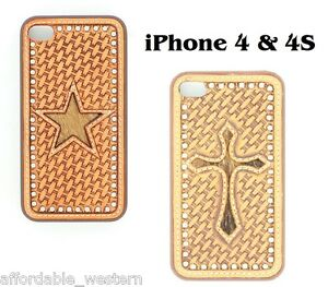iPhone-4-4S-Cover-HAIR-TOOLED-LEATHER-Protective-Case-Hardback-Western-Cowboy