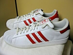 ADIDAS White/Red Leather Rubber-Toe