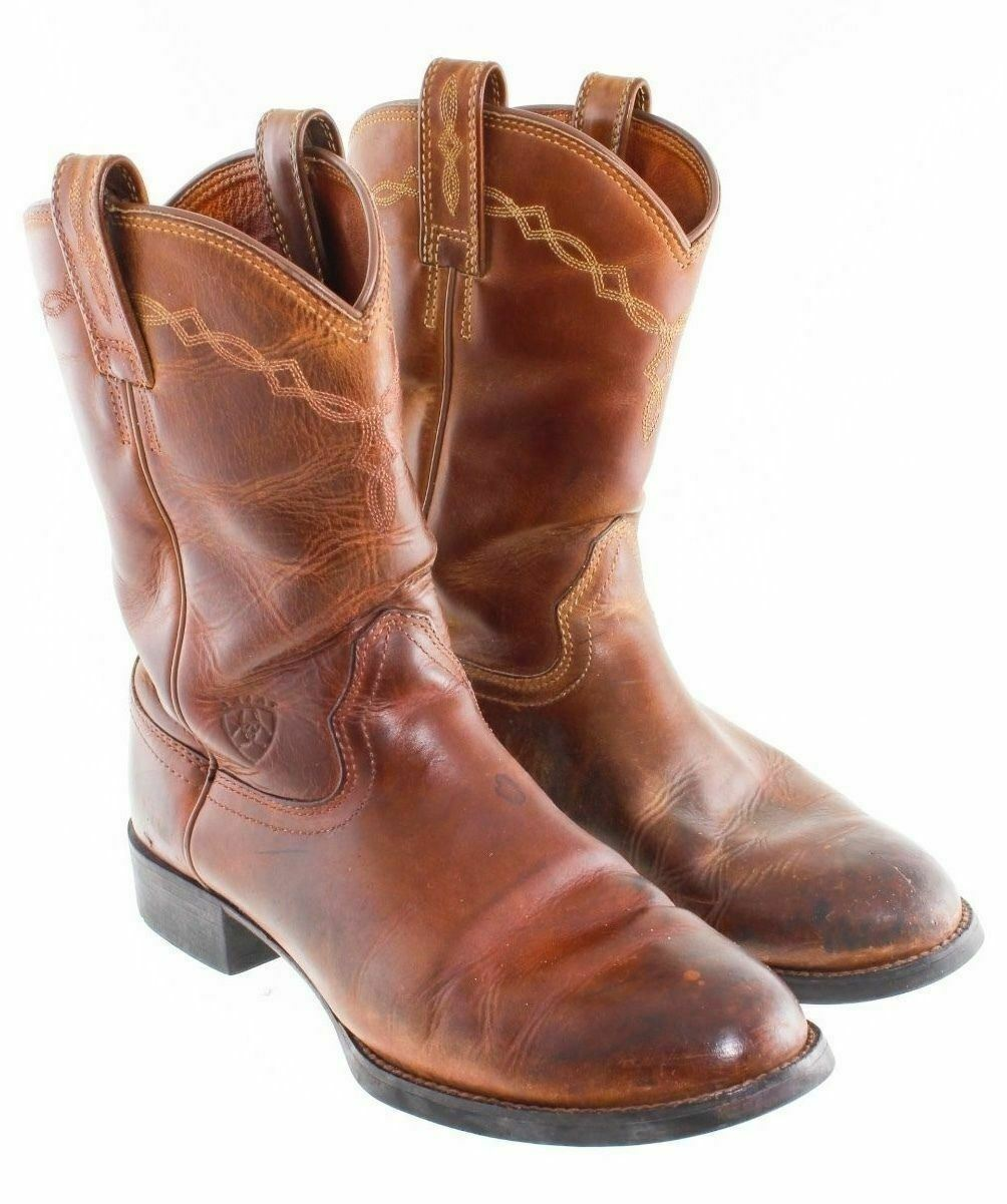 ARIAT Brown Roper Western Leather Boots Men's Size 8 D Us 40.5 EU