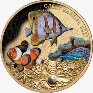 Niue-2020-Great-Barrier-Reef-100-1-Oz-Gold-Proof-w-Saltwater-Pearl-MINTAGE-150