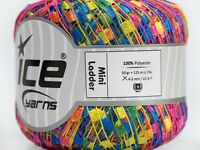 Ice Yarns Mini Ladder Ribbon Yellow Pink Blue 1 Skein 50gr 46584 Polyester