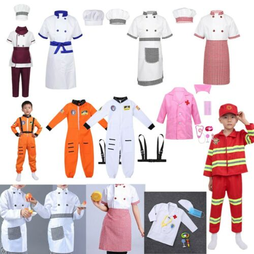 Kid Child Costume Fancy Dress Jumpsuit Outfit Chef//Astronaut//Surgeon//Firefighter