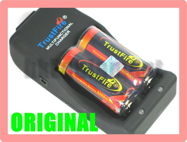 Trustfire TR-006 Charger + 2x Rechargeable 26650 3.7v 5000 Protected Battery