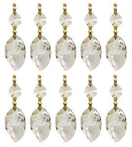 10 pack chandelier crystal prisms clear leaf shape polished brass ebay image is loading 10 pack chandelier crystal prisms clear leaf shape aloadofball Choice Image