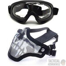 Airsoft Rete Metallica Fang Maschera + Chiaro x400 Occhiali di Protezione Viso Occhiali Strike
