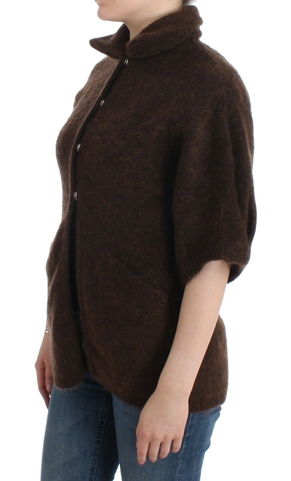 NWT NWT NWT  550 CLASS ROBERTO CAVALLI Brown Mohair Cardigan Knit Sweater Wool IT40 US6 ddfab6