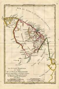 Map Of America Ebay.Details About Antique Map South America Guiana Surinam Bonne 1780