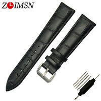 Black Genuine Leather Watch Band Small Tool Spring Bars Strap Silver Buckle 14mm
