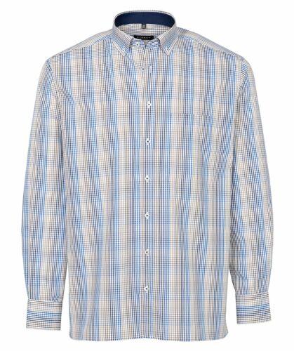 ETERNA Herren Langarm Hemd Comfort Fit BD braun blau weiß Kariert 3007.25.E143