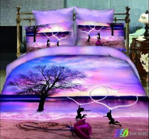 3D King Size Bed Quilt Duvet Comforter Cover Sets 100% Cotton 4PCS Floral A751
