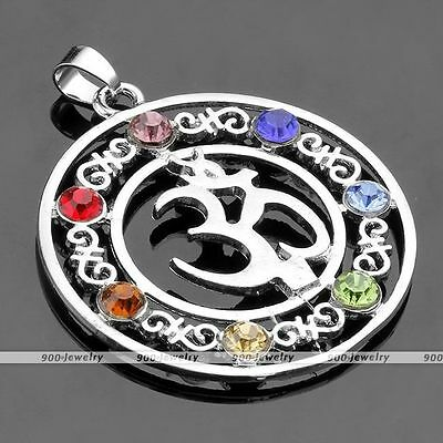 1x Inlaid 7 Crystal Glass Bead Healing Point Chakra Charm Pendant OM Symbol Gift