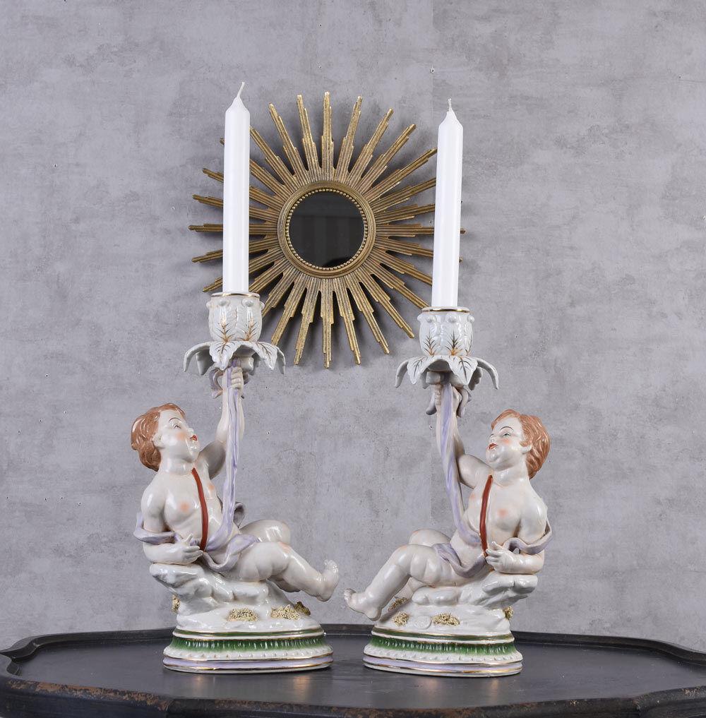 Candelabro Set di Due Supporto Titolare Porcellana Statue Angelo