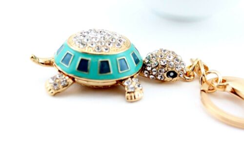 Blue Turtle Fashion Keychain Rhinestone Crystal Charm Insects Cute Gift E24