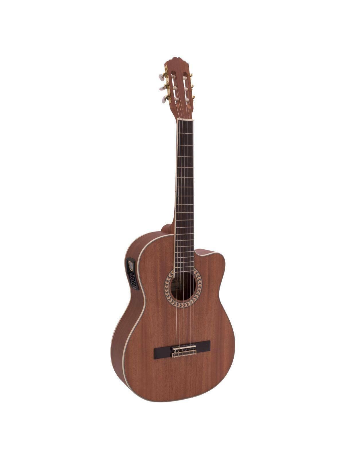 Konzertgitarre WILLIAM aus Mahagoni, Tonabnehmer, dunkelbraun   Konzert Gitarre