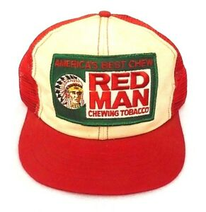 92894f31 VINTAGE RED MAN AMERICA'S BEST CHEW CHEWING TOBACCO TRUCKER HAT CAP ...
