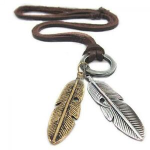 jahrgang-schmuck-elektroschocker-halskette-leder-kette-feder-anhaenger