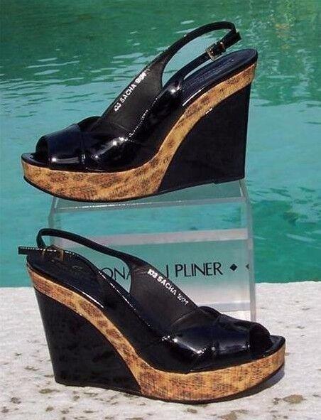 Donald Pliner Couture Patent Leder Wedge Schuhe New Sand 275 Congo Raffia 275 Sand NIB e2a9a2