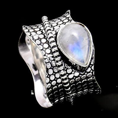 Rainbow Moonstone 925 Sterling Silver Meditation Statement Ring Spinner Ring sd8