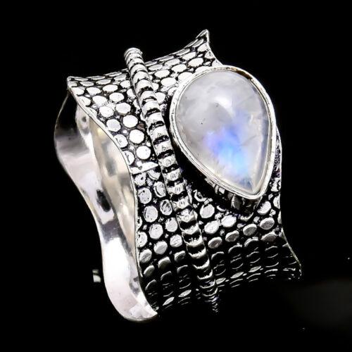 Rainbow Moonstone Argent Sterling 925 spinner ring méditation Statement Ring s27