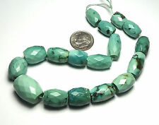 """10"""" Strand TIBETAN TURQUOISE 11-18mm Faceted Barrel Beads /B1"""
