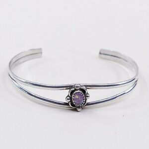 6-25-Vtg-Navajo-Native-American-Handmade-Opal-Sterling-925-Silver-Cuff-Bracelet