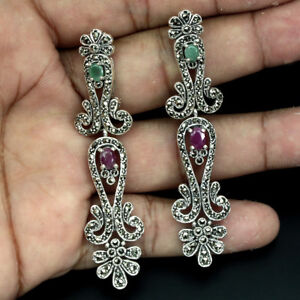 Oval-Cut-6x4mm-Red-Ruby-Emerald-Marcasite-925-Sterling-Silver-Earrings