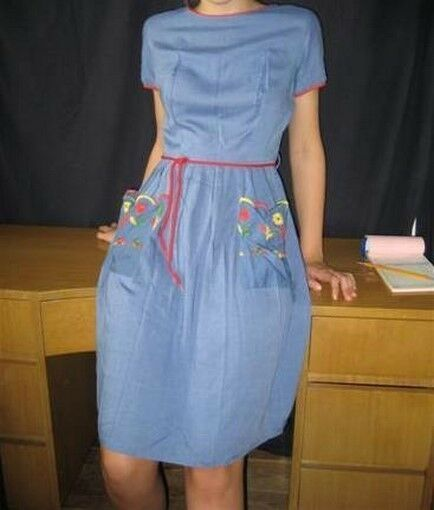 Day Dress Blau Embroiderot Trim
