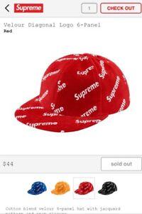 a5cc14b0 Supreme Hat Velour Diagonal Logo 6-Panel FW17 Week 6 100% CONFIRMED ...