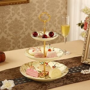 3 Tiers Radian Cake Plate Stand Cupcake Fittings Golden Party Decor & Best Selling Cake Stands | eBay