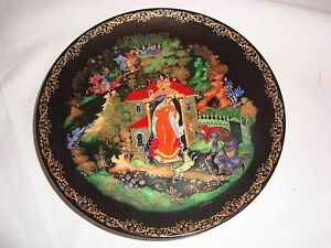 OLD RUSSIAN PALEKH LACQUER PLATE VINTAGE HAND PAINTED SIGNED 60-V25-1.2 LIMITED!