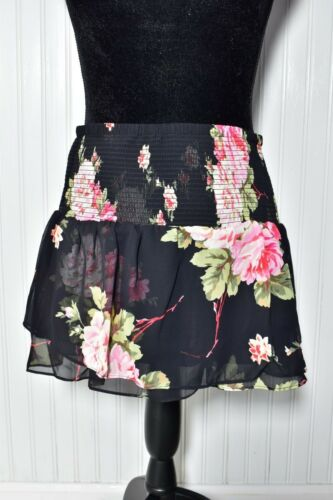 Mini donna Nwt M Express media nera gonna Skort floreale zwqtd