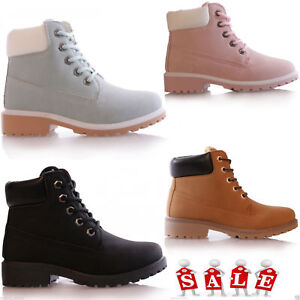 KIDS-GIRLS-GRIP-SOLE-WINTER-WARM-LACE-UP-ANKLE-BOOTS-TRAINERS-SHOES-SIZE-10-6