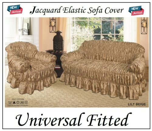 Alternate to Sofa Throw Universal Fit Beige Elastic Jacquard Sofa Covers