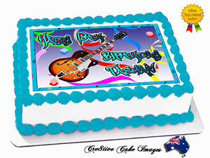 Electric-Guitar-Edible-Icing-Image-Cake-Topper-Personalised-Birthday-Decoration