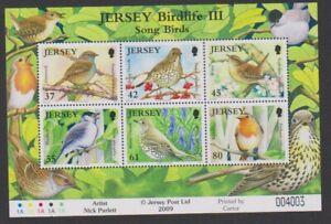 Jersey-2009-Birdlife-Oiseaux-Chanteurs-Feuille-MNH-Sg-MS1456