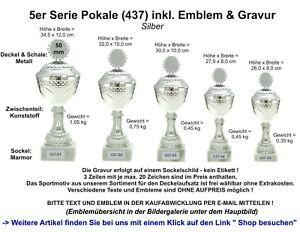 Pokale (34,5-26 cm) als 5er Serie (437) & als Einzelpokale mit Emblem & Gravur
