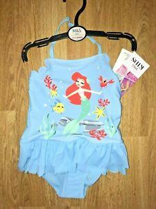 Sportif Bnwt M&s Bleu Maillot De Bain Little Mermaid Dos-nu Sz 18-24 M Sunsafe Upf 50+-afficher Le Titre D'origine