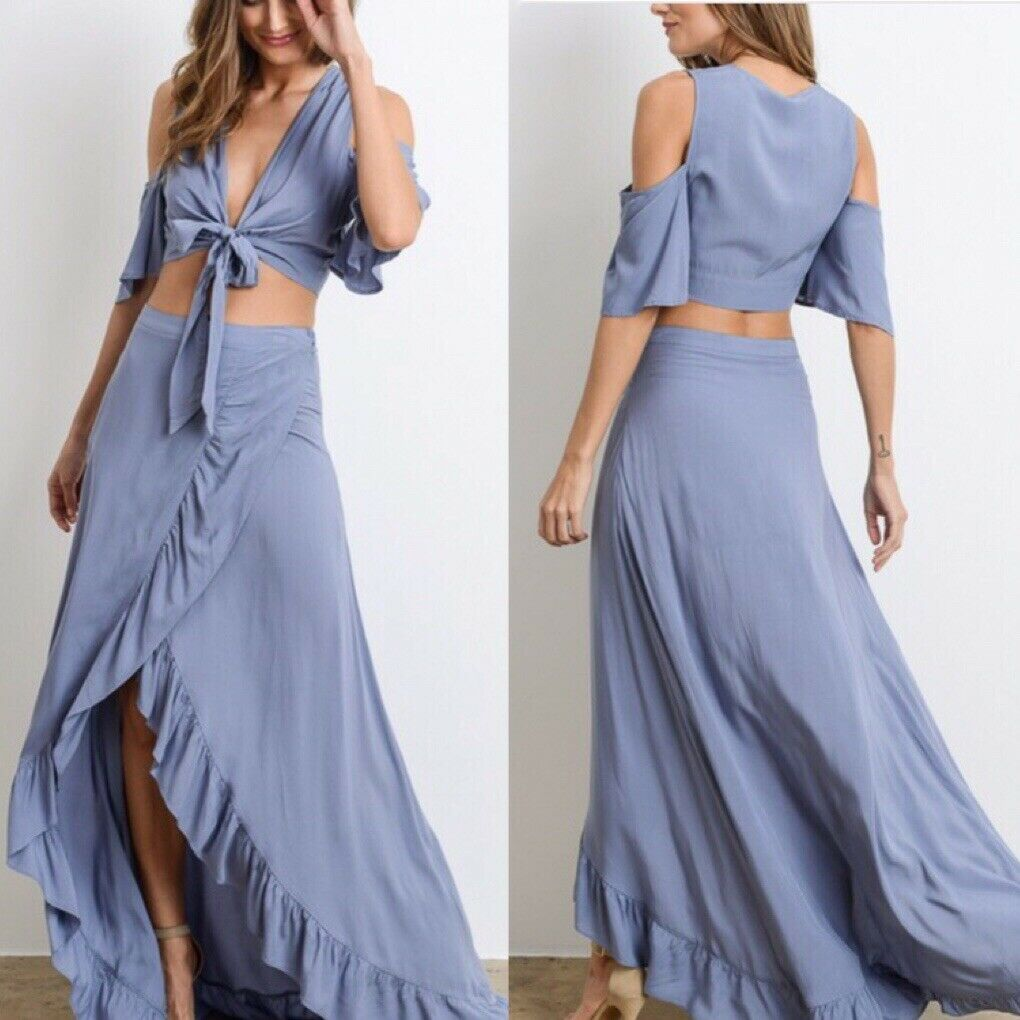 2-piece Cold Shoulder oben With High and Low Maxi Rock
