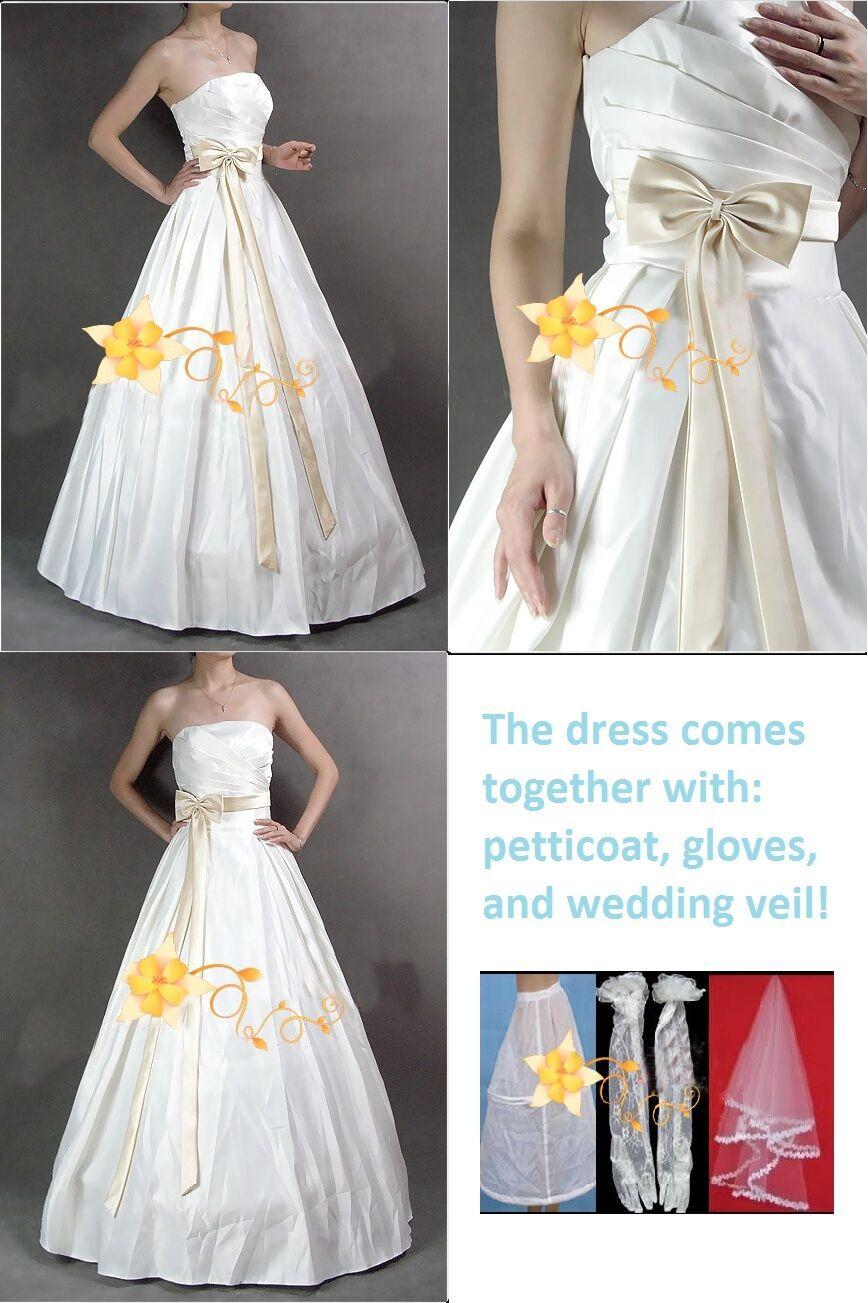 Big Bow Wedding Dress Bridal Gown New (Size: S )
