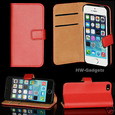 Genuine Real Leather Super Slim Flip Wallet Case Cover for iPhone 5s 5 & 4 4s
