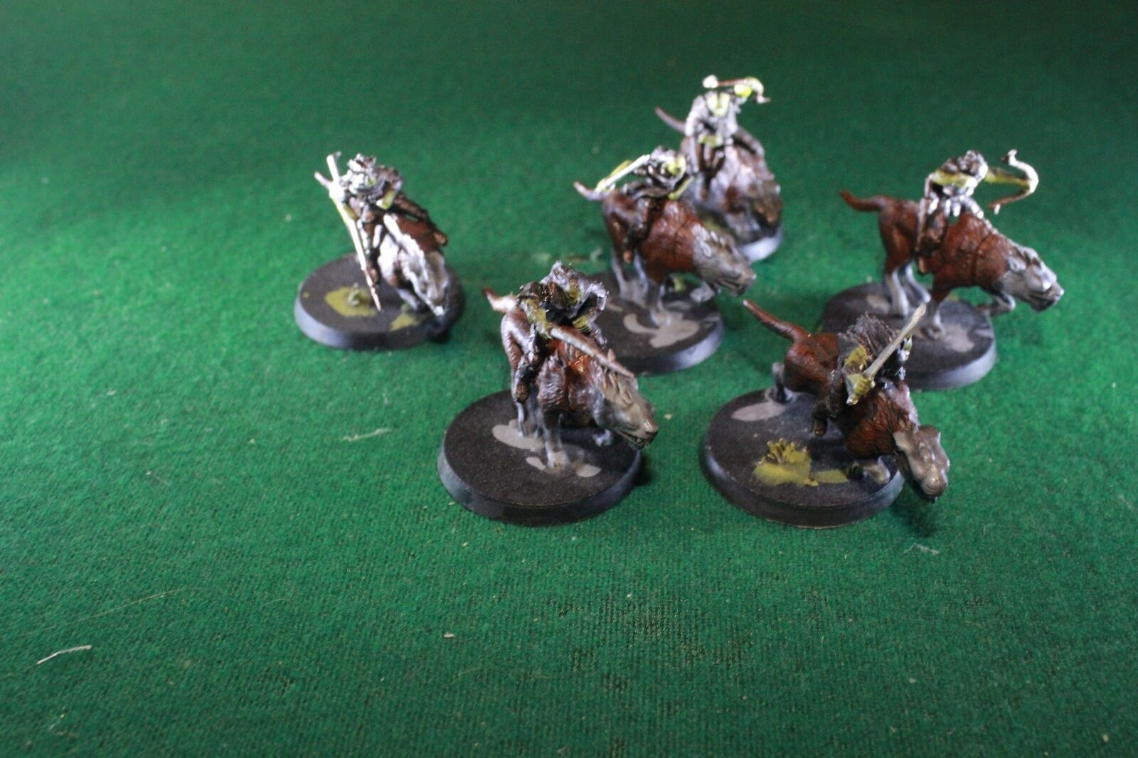Warhammer games workshop lord of the rings wargs x 6 built