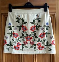 Topshop New Cream Ivory Floral Embroidered Cotton Mini Skirt Size 6-12 RRP £36