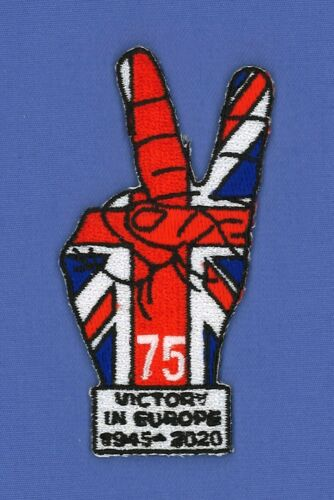 VE DAY 75TH ANNIVERSARY EMBROIDERED PATCH BADGE