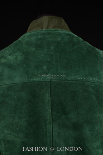 Men/'s 70/'S BOMBER Leather Jacket Green Pilot Aviator Style Suede Leather Jacket