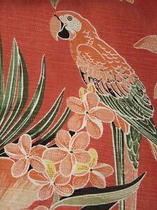 6817398c4 Image is loading Beautiful-parrot-hibiscus-floral-silk-Hawaiian-shirt-LARGE