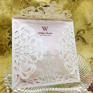 10pcs Laser Cut Wedding Invitations Cards Kits Envelopes Seals Custom Square